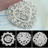 Flower Heart Rhinestone Silver Plated Brooch Pin Wedding Bridal Broach Breastpin