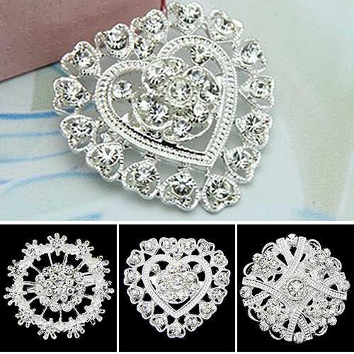 Bunga Hati Berlian Imitasi Berlapis Perak Bros Pin Pernikahan Bridal Broach Breastpin