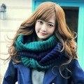 Coreano caliente del invierno de lana bufanda del remiendo del color collar de cuello alto de punto de lana de cuello femenino 2 color mujer bufanda caliente