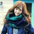 Inverno coreano de lã quente cachecol patchwork gola de malha de lã de gola alta cor colar feminino 2 cor mulher cachecol quente