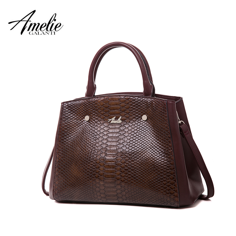 AMELIE GALANTI Casual Tote Ladies Fashion Handbags Serpentine Pattern Pocket High Quality PU Leather Fabric Classic Women Bag