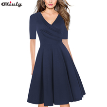 Oxiuly Pure Blue Purple Floral Print Ruffle V Neck Dress Half Sleeve Knee Length Office Ladies Casual A-Line Dresses Vestidos