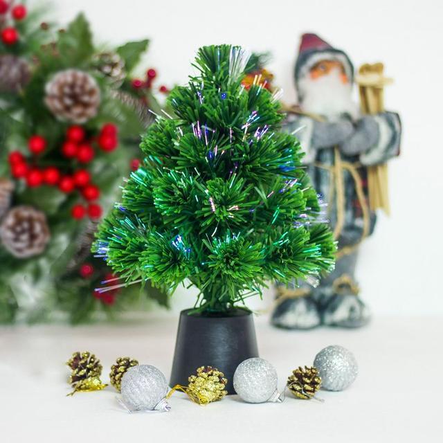 30 cm mini fiber optic desktop usb charge christmas tree pine ornament party home decorations - Mini Fiber Optic Christmas Tree