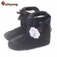 New Women's High-top Shoes Thick Plush Warm Indoor Shoes Non – slip Soft Bottom Indoor Boots Cute Bow Home Floor Shoes