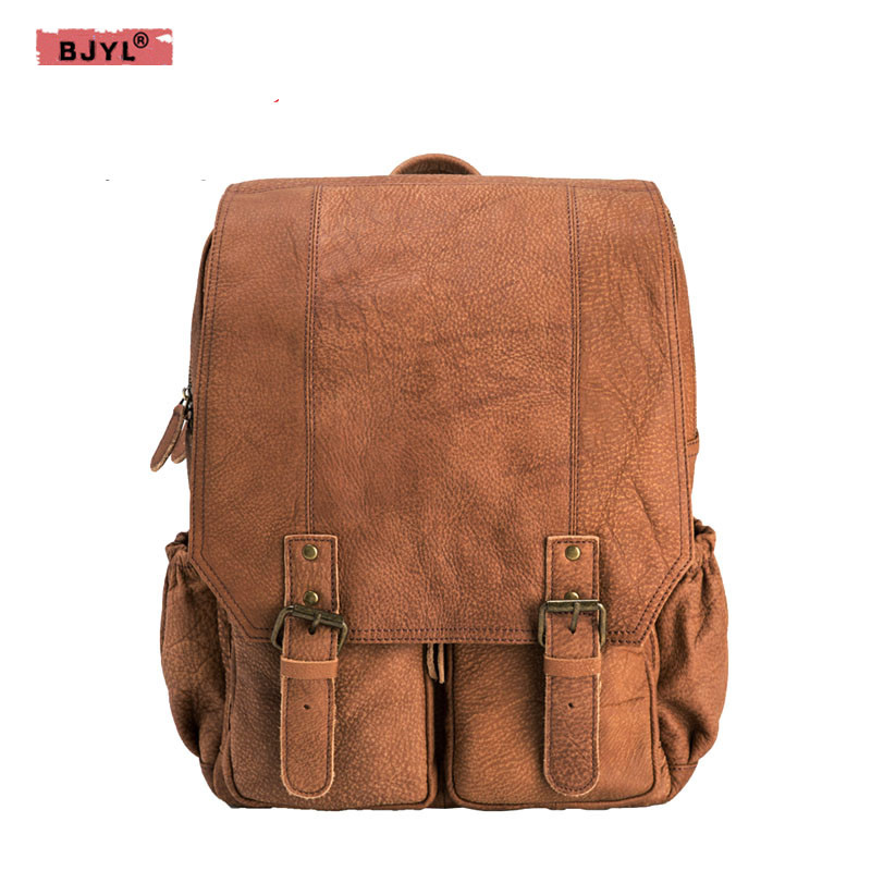 BJYL Original new England retro Laptop bag men Backpacks Brown Genuine leather shoulder bag men scrub leisure travel backpackBJYL Original new England retro Laptop bag men Backpacks Brown Genuine leather shoulder bag men scrub leisure travel backpack
