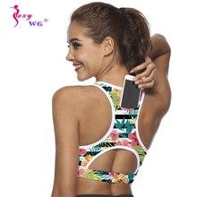 SEXYWG Top Women Sports Bra with Phone Pocket Compression Push Up Underwear Top Female Gym Fitness Running Yoga Bh Sport Bra XL