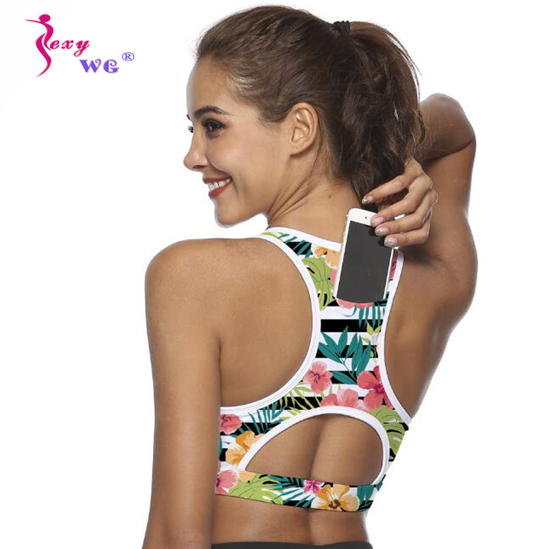 SEXYWG Top Women Sports Bra with Phone Pocket Compression Push Up Underwear Top