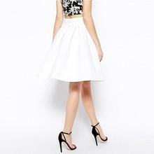 HYH HAOYIHUI Zipper White Skirt Women A-line High Waist Slim Basic Pleat Skirt Ladies Elegant Party Evening Midi Skirt Female