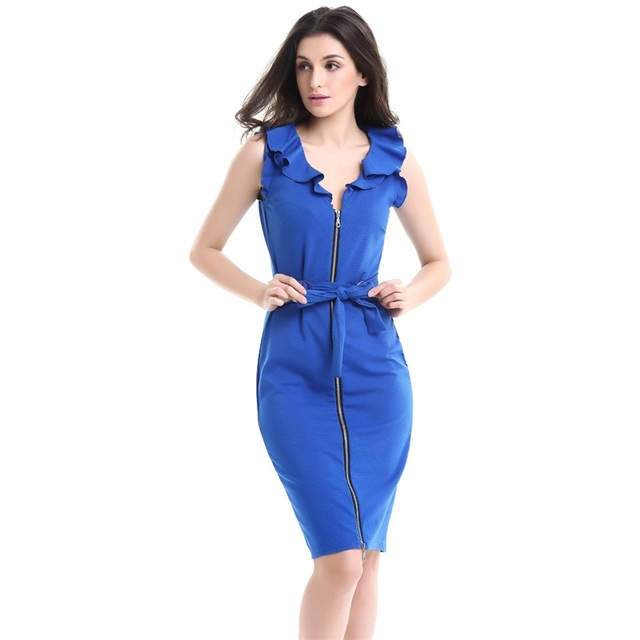 Plus Size Dresses Summer Women Office Gowns Sleeveless Ruffles Party  Vestidos Female Casual Pencil Zipper Midi Robes 4XL YD-156 8ad64d6f2108