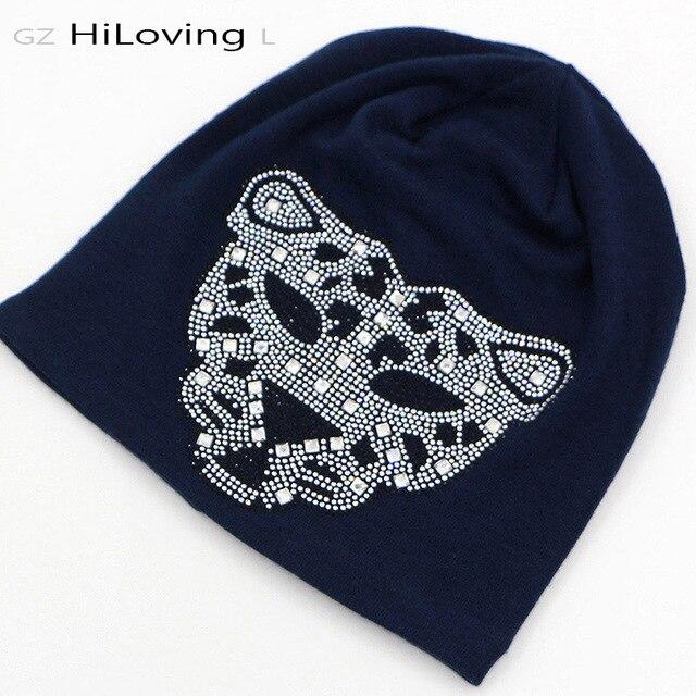 2016 Fashional Largo Invierno Mujeres Slouch Diamond Beanie Hat Skullies Gorros Sombreros de Leopardo Punky Negro de Algodón Fresco de Otoño Sombreros