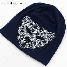 2016 Fashional Winter Long Womens Slouch Diamond Beanie Hat Punk Leopard Skullies Beanies Hats Black Cotton Cool Autumn Hats