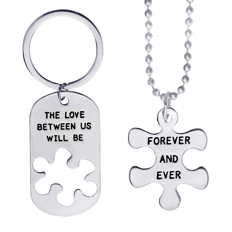2pcs High Quality Fashion Simple Style The Love Between Us Letter Carving Couple Necklaces Keychain Valentine