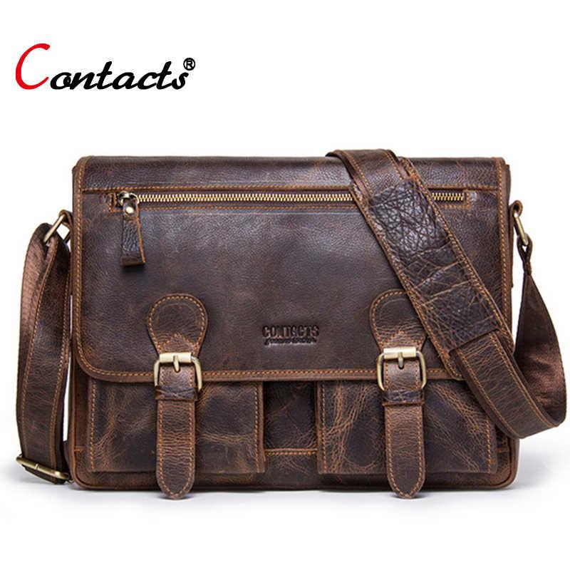 cac6729e0085 Contact s brand genuine leather bag men shoulder bag vintage briefcase male  messenger bag men leather handbag
