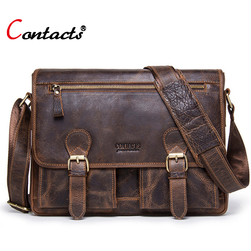 Contacts brand genuine leather bag men shoulder bag vintage briefcase male messenger bag men leather handbag crossbody bag toteContacts brand genuine leather bag men shoulder bag vintage briefcase male messenger bag men leather handbag crossbody bag tote