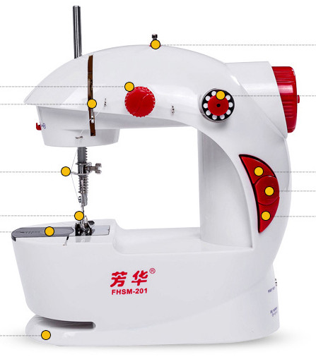 Multi function Mini Portable Electric Sewing Machine LED lighting Use Power adapter or 4 AA Batteries