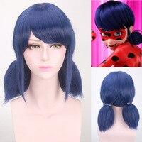 2017 Nuevo Hot miraculous Ladybug Pelucas peluca Marinette Niñas mujeres Cosplay doble coleta trenzas recta corta azul del pelo