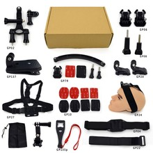 RB For Gopro Accessories Kits Set for Gopro mount+camera monopod+ chest strap+ 3M sticker+ writs band+ storg bag+screw+tripod+J-