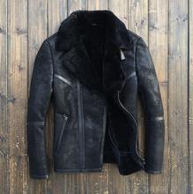 2015 Fashion  Sheepskin Fur Flight swimsuit Shearing Men's leather-based jackets Slim Fur Men's motorbike jacket Coat 8125 Free transport