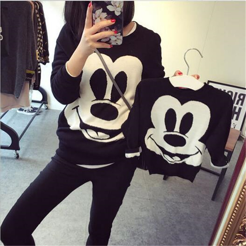 Autumn And Winter Family Matching clothes Middle Small Children Cartoon Sweater Long Sleeve Fashion Keep Warm