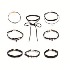 8 pz/set Gothic Black Velvet Tattoo Lace Choker Della Collana di Modo Multi Strato Charm Donne Chockers Collane Punk Gioielli(China)