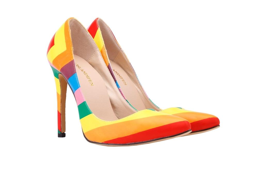 Sexy zapatos de tacón alto Mujer punta dedo del pie fino talón damas bombas  colores del arco iris de las mujeres EU34-42 e9ba16dd3346