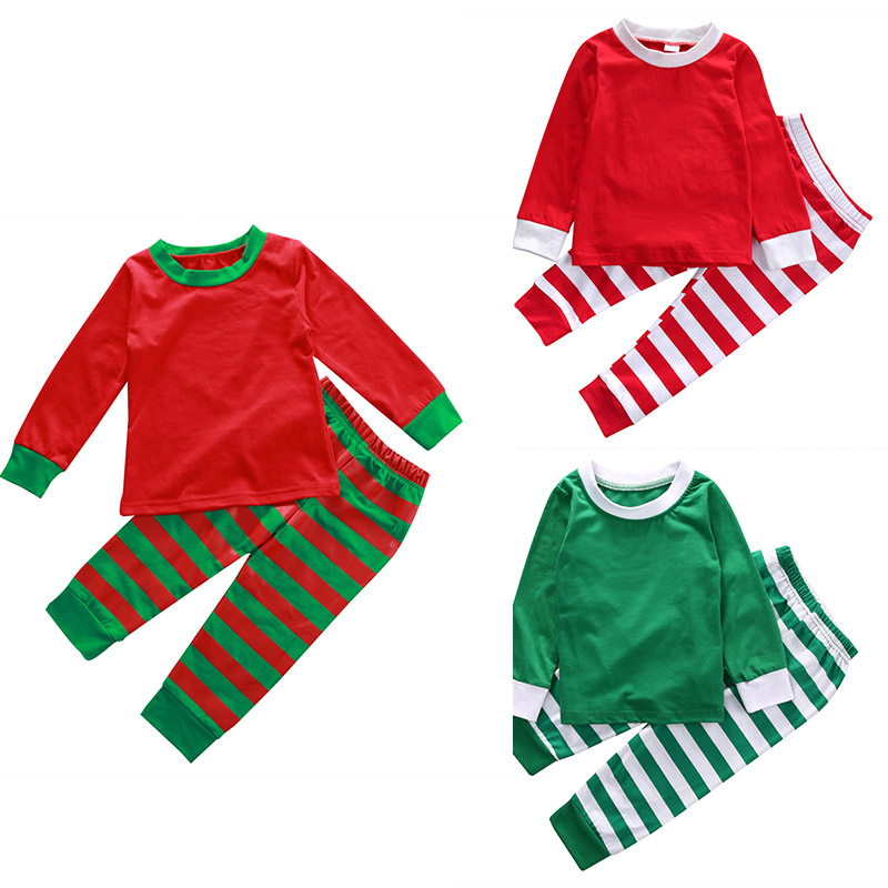 3 Styles Family Matching Christmas Pjs Outfits Kids Adult Pajamas Set Striped Sleepwear Nightwear Photography Prop Costume