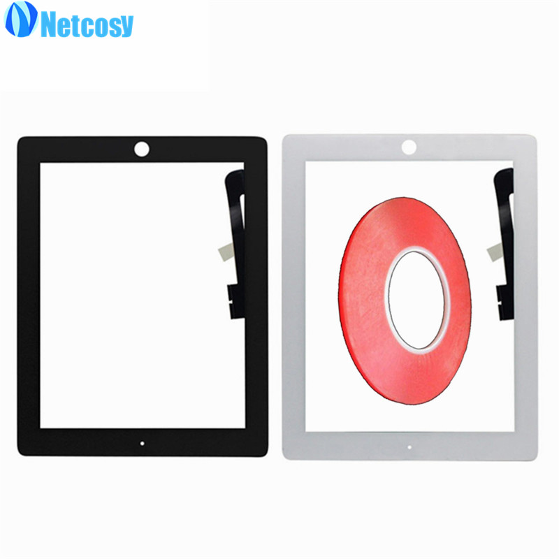 Netcosy Touchscreen For ipad 3 / 4 Black & White Touch Screen Digitizer panel for iPad 3 4 & 2mm width Double side adhesive netcosy for ipad air touchscreen high quality black