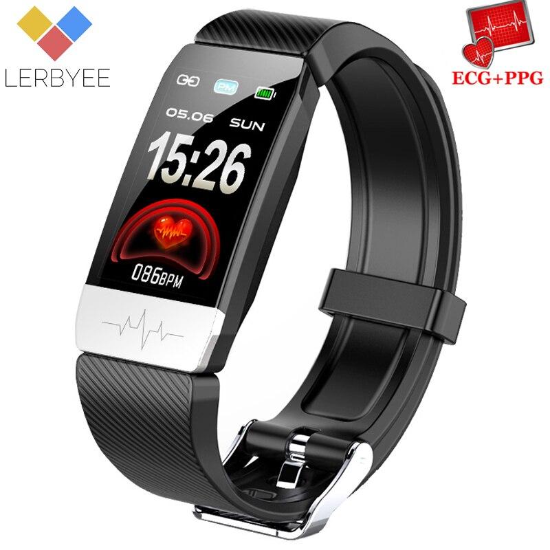Lerbyee Q1S Rastreador De Fitness ECG + PPG Pulseira Monitor de Freqüência Cardíaca Inteligente Lembrete de Chamada À Prova D' Água Esporte Relógio Inteligente para iOS android