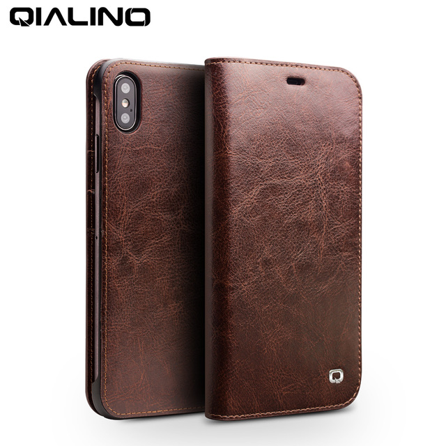 QIALINO Luxury Ultra Slim Phone Case for iPhone XS/XR Handmade Genuine Leather Wallet Card Slot Bag Flip Cover for iPhone XS Max