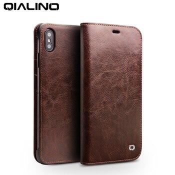 QIALINO caja Ultra delgada del teléfono del lujo para el iPhone XS/XR hecho a mano de cuero genuino cartera ranura para tarjeta Flip Cover para el iPhone XS Max