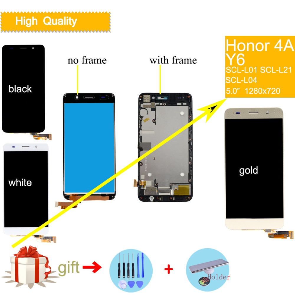 Original Screen For HUAWEI Y6 LCD Display Touch Screen with Frame For HUAWEI Honor 4A LCD Display SCL-L01 SCL-L21 lcd AssemblyOriginal Screen For HUAWEI Y6 LCD Display Touch Screen with Frame For HUAWEI Honor 4A LCD Display SCL-L01 SCL-L21 lcd Assembly
