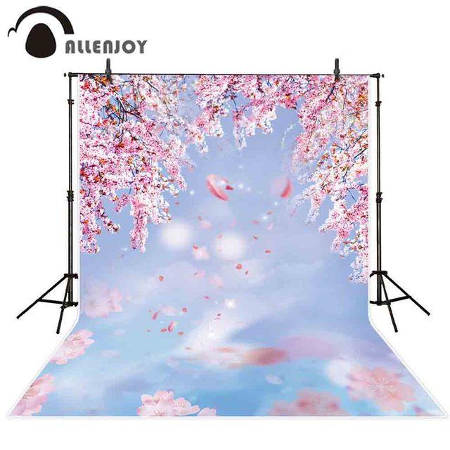Allenjoy cherry blossom photography backdrop blue sky bokeh spring flower background photocall photo studio decor shoot prop