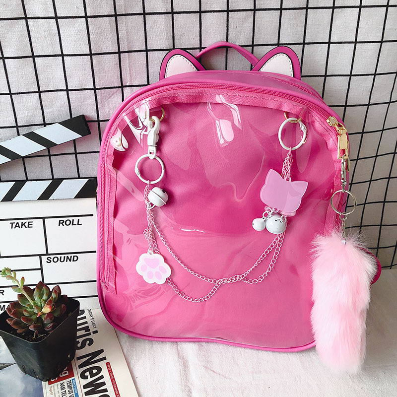Japanese Korean Transparent Shoulder Bag Ita Bag New Plus Tail Women Backpack Pu Girl Candy Cute School Backpack