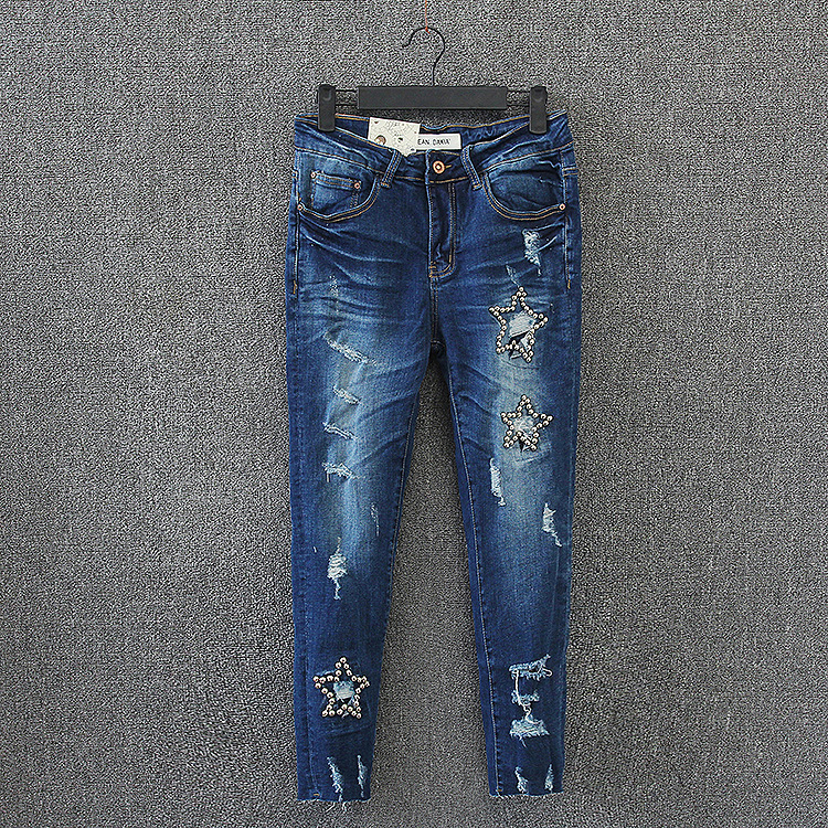 Casual Women Jeans 2017 New Plus Size Slim Ankle-length Embroidered Flares Denim Ripped Jeans Hole Pencil Pants KK2668 2017 ripped jeans women casual denim ankle length boyfriend pants women floral embroidered flares hole female slim pencil pants