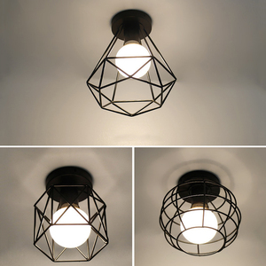 Image 2 - Vintage E27 Plafond Lichten Ijzer Zwart Plafondlamp Retro Kooi Licht Keuken Armaturen Luminaria Lamparas De Techo Home Verlichting