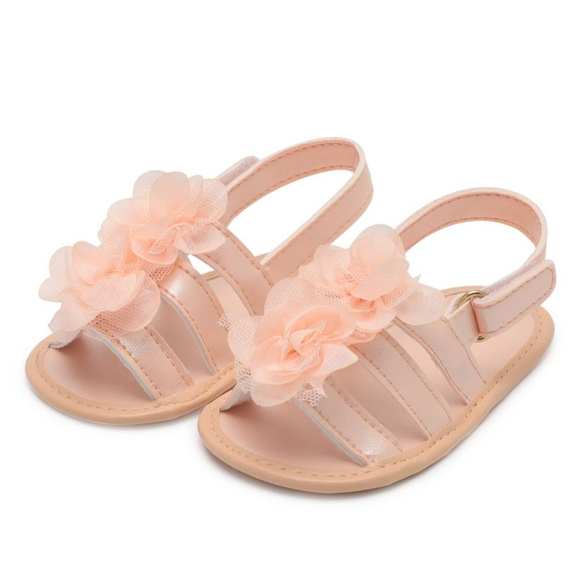 New 2018 Summer Girls Sandals Children Anti-slip Beach Shoes Infant Baby Girl Floral Lace Crib Shoes 0-18M Cherryb