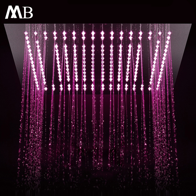 16 Inch Polish Rain LED Shower Head Remote Control LED Ceiling Mount Stainless Steel Square Sprayer 400mm Bathroom Showerhead ydl bd005 1 16 temperature control 24 led rgb light 304 stainless steel square shower head silver