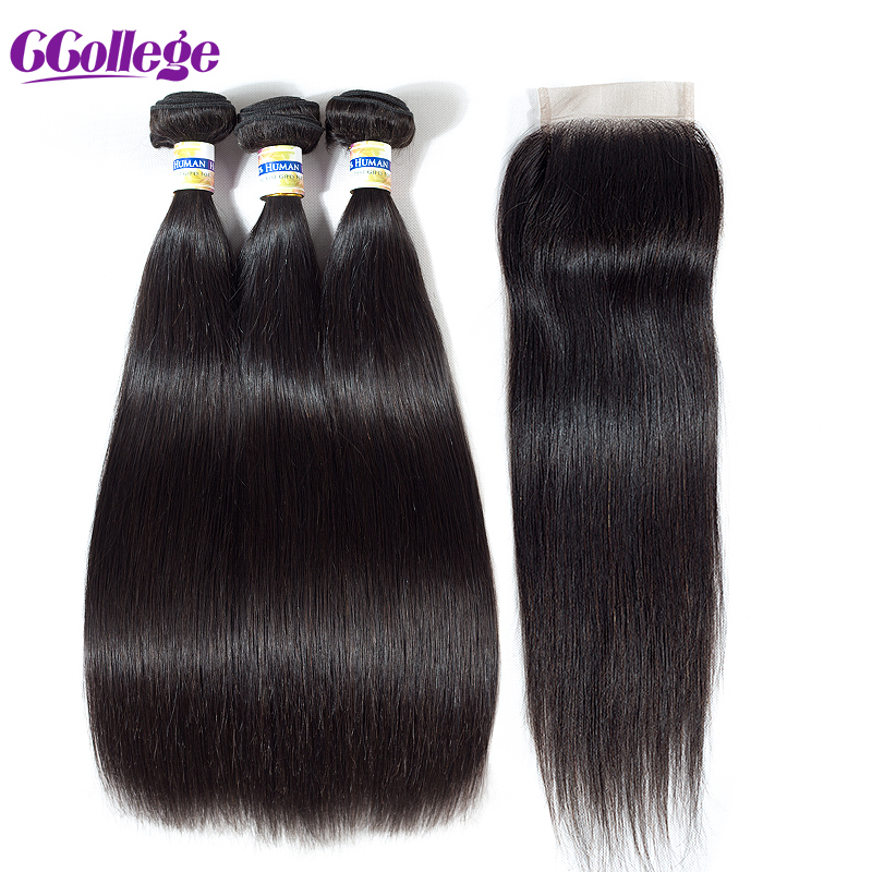 Peruvian Straight Remy 3 Bundles With Closure 100% Human Hair Bundles - Mänskligt hår (svart) - Foto 2
