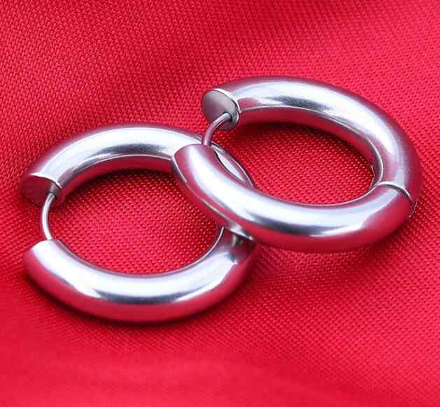 983434af2 ... 2 pieces Gold Silver Black 316L Stainless Steel Round 5mm Thickness  Hoop Earrings Korean Cute Small ...
