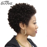 HANNE Hair Afro Kinky Curly Wig Short Afro Wigs Malaysian Human Hair 100% Human Hair Wig for Black Women Natural Looking 1b#