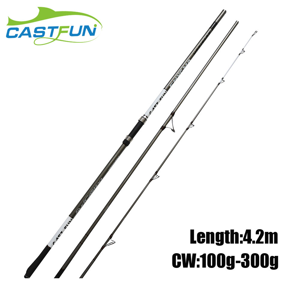 CASTFUN Surf Rod 4.2m CW 100g 300g High Carbon Fiber Fishing Rods 3 Section Surfcasting