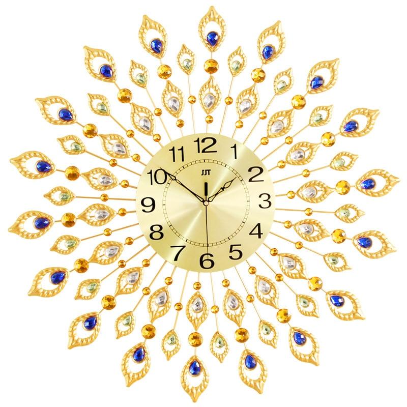 European style Living room wall clock Iron art Creative decorative fashion Peacock-shaped quartz