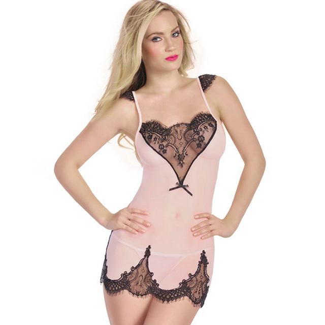 Europa y los Estados Unidos nuevas mujeres de la lencería sexy camisón de encaje de gasa transparente tentación pijamas exóticos