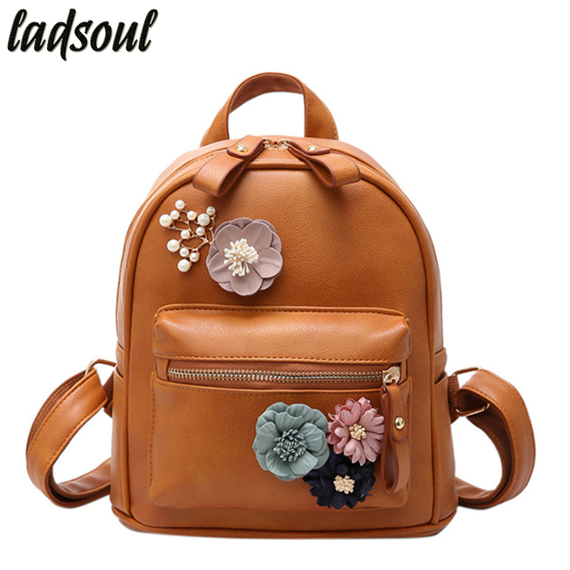 LADSOUL Women Backpacks Flower School Backpacks Fashion Leather Backpack Romantic Good Quality Travel Backpacks Women A1328/g рюкзаки zipit рюкзак shell backpacks