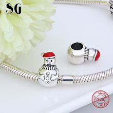 SG recommend charms Silver 925 Original snowman beads with red hat Fit Authentic pandora Bracelets DIY Jewelry for women Gift