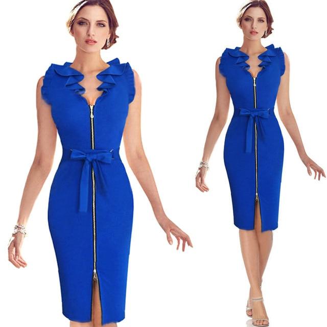 Elegant Women Party Dress 2017 Sleeveless Bodycon Dress Summer Elegant Knee-Length Dress V-neck Split Dresses Feminino Vestidos