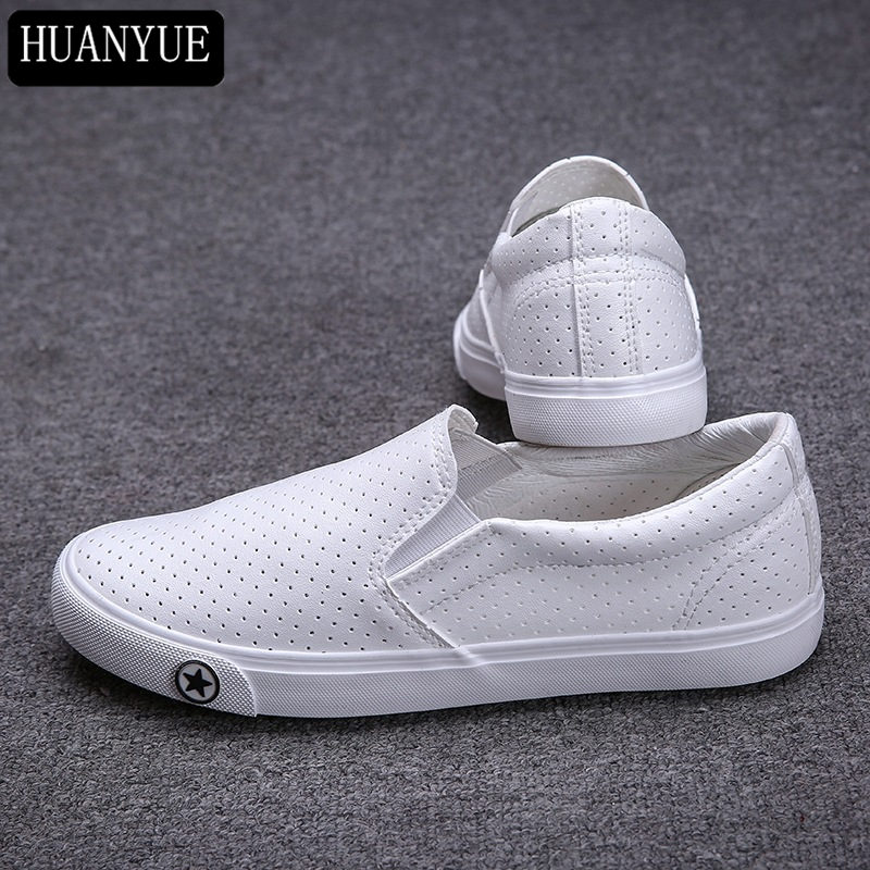New 2018 Fashion Spring Summer Shoes Hollow White Black PU Leather Shoes Men's Flats Men Casual Shoes Breathable Walking Zapatos women shoes 2016 high fashion shoes men spring summer women s flats casual shoes pu leather 2016