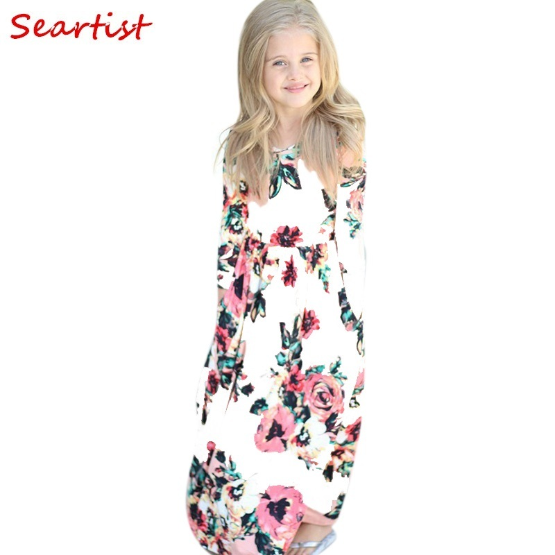 Seartist 2018 New Girls Dress Baby Dresses Beach Bohemian Summer Floral Princess Party Long Sleeve Dress Girl 10-12Years C50