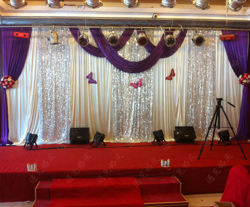 Charming 3M*6M Purple Swags Hot Sale Lilac Wedding Backdrop Stage Curtains Wedding  Decoration
