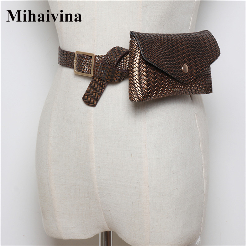 Mihaivina Fashion Weave Fanny Packs For Women Knitting Waist Bag Vintage PU Leather Waist Pack Travel Belt Bags Shopping Wallet